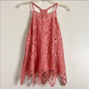 Lace Top with Decorative Hem Peachy Rose Color